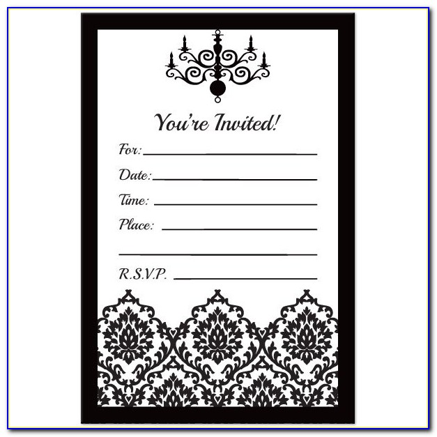 Black And White Party Invitations Templates Free