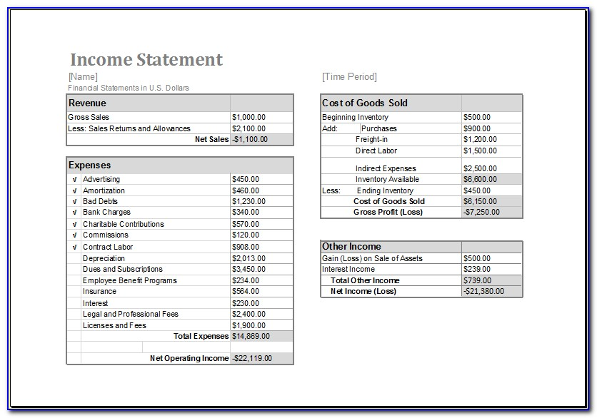 Blank Income Statement Template Pdf