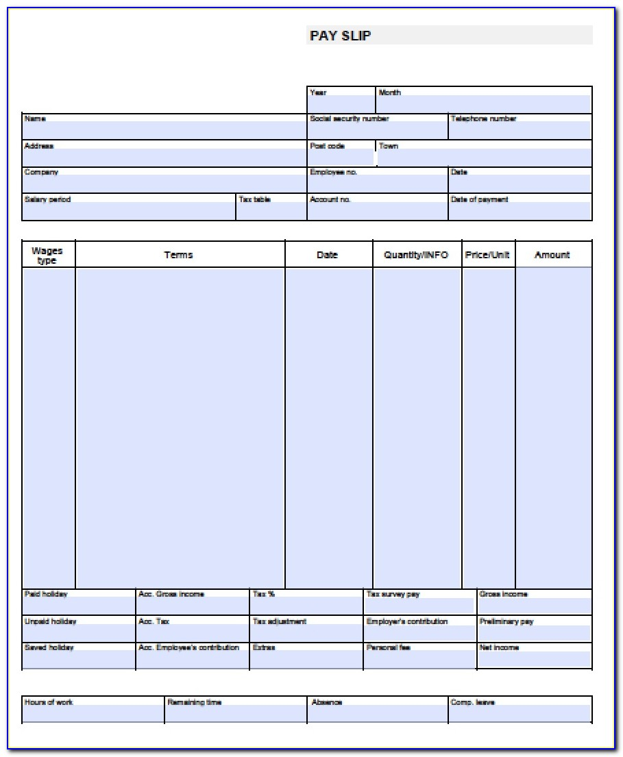 Blank Pay Stub Template Excel