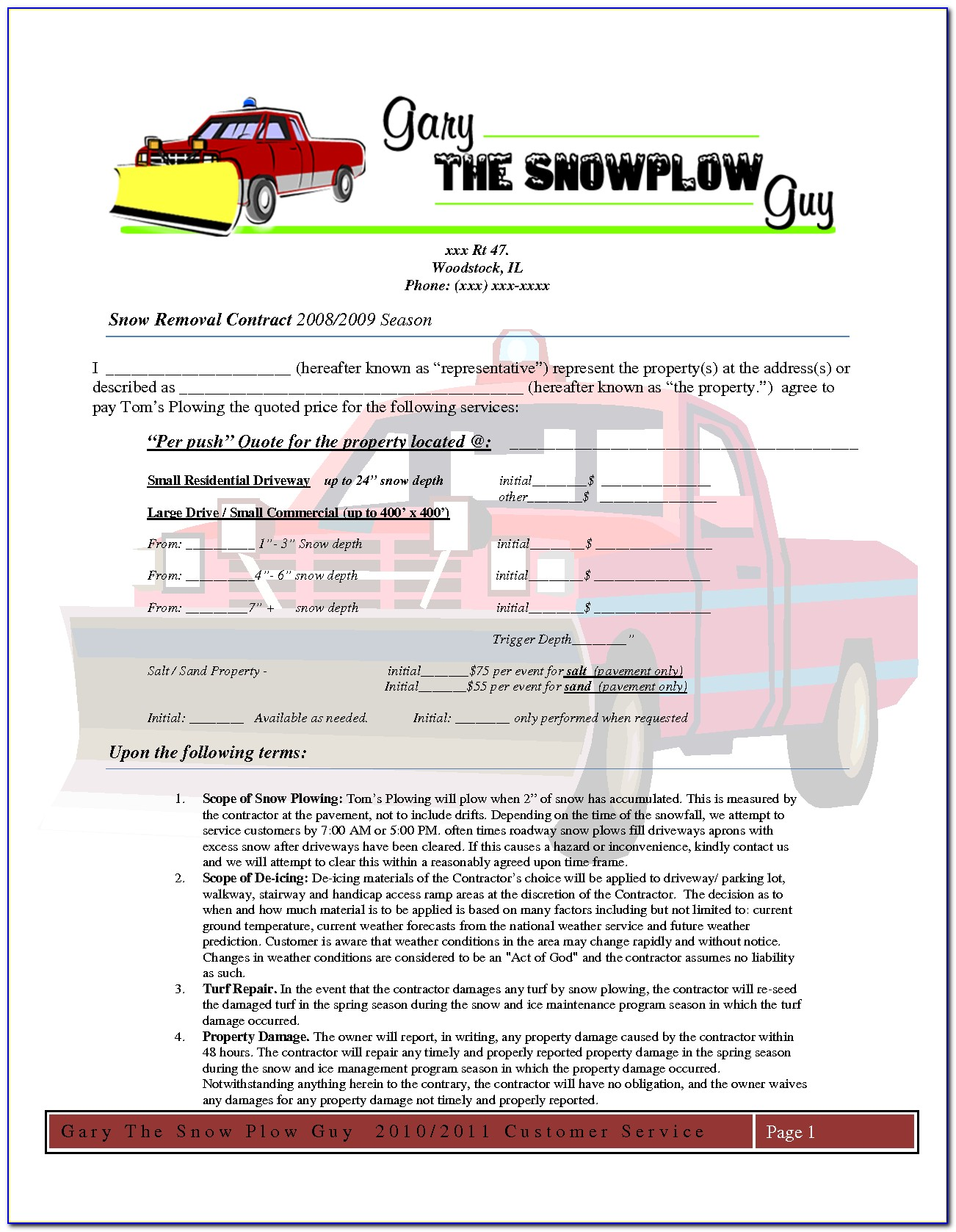 Blank Snow Plow Invoice Template