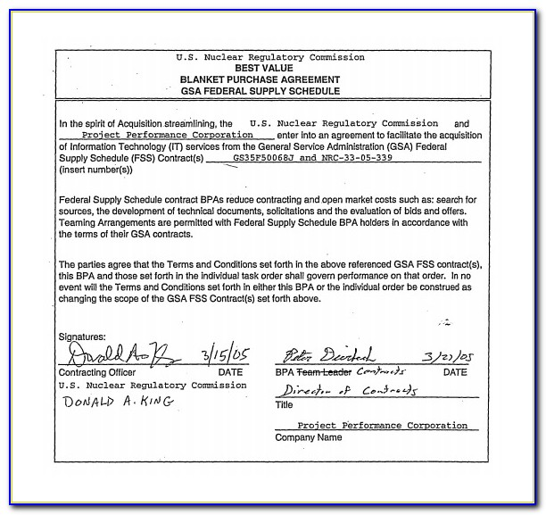 Blanket Purchase Agreement Example