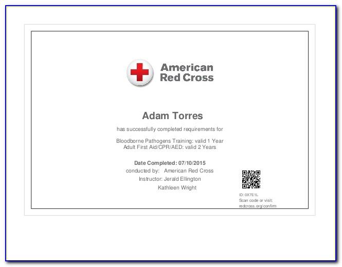 Bloodborne Pathogen Training Certificate Template