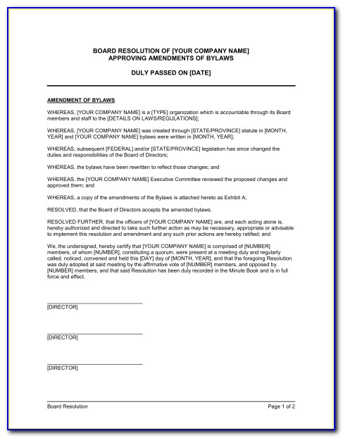 Board Of Directors Bylaws Template