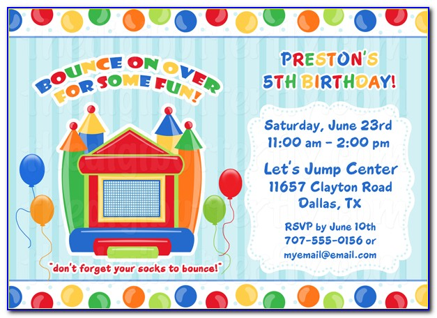 Bounce House Invitations Template Free