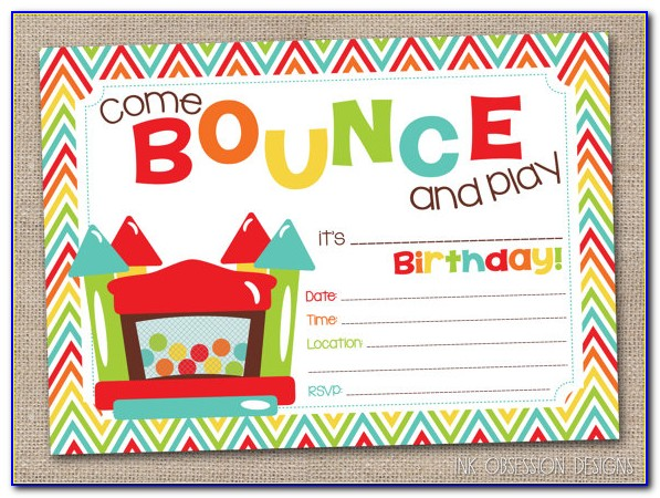 Bounce House Invitations Template