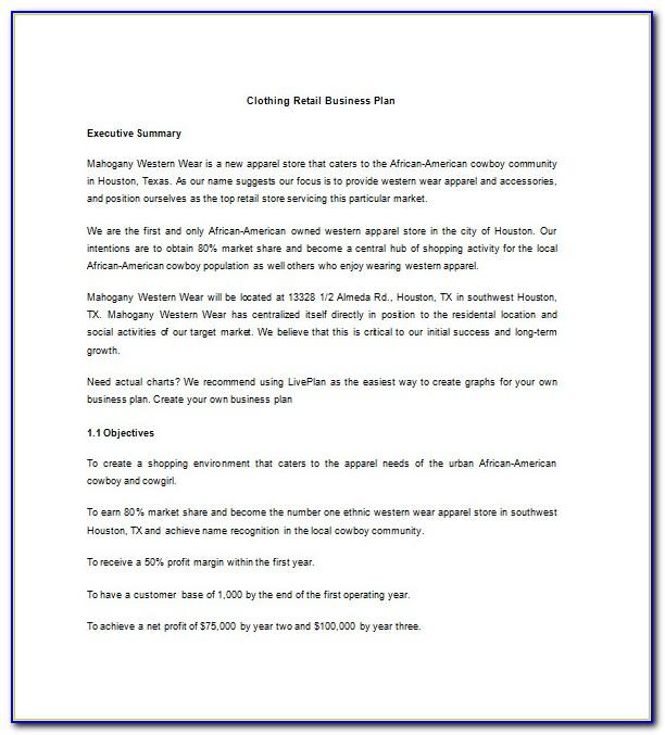 Boutique Business Plan Template Pdf