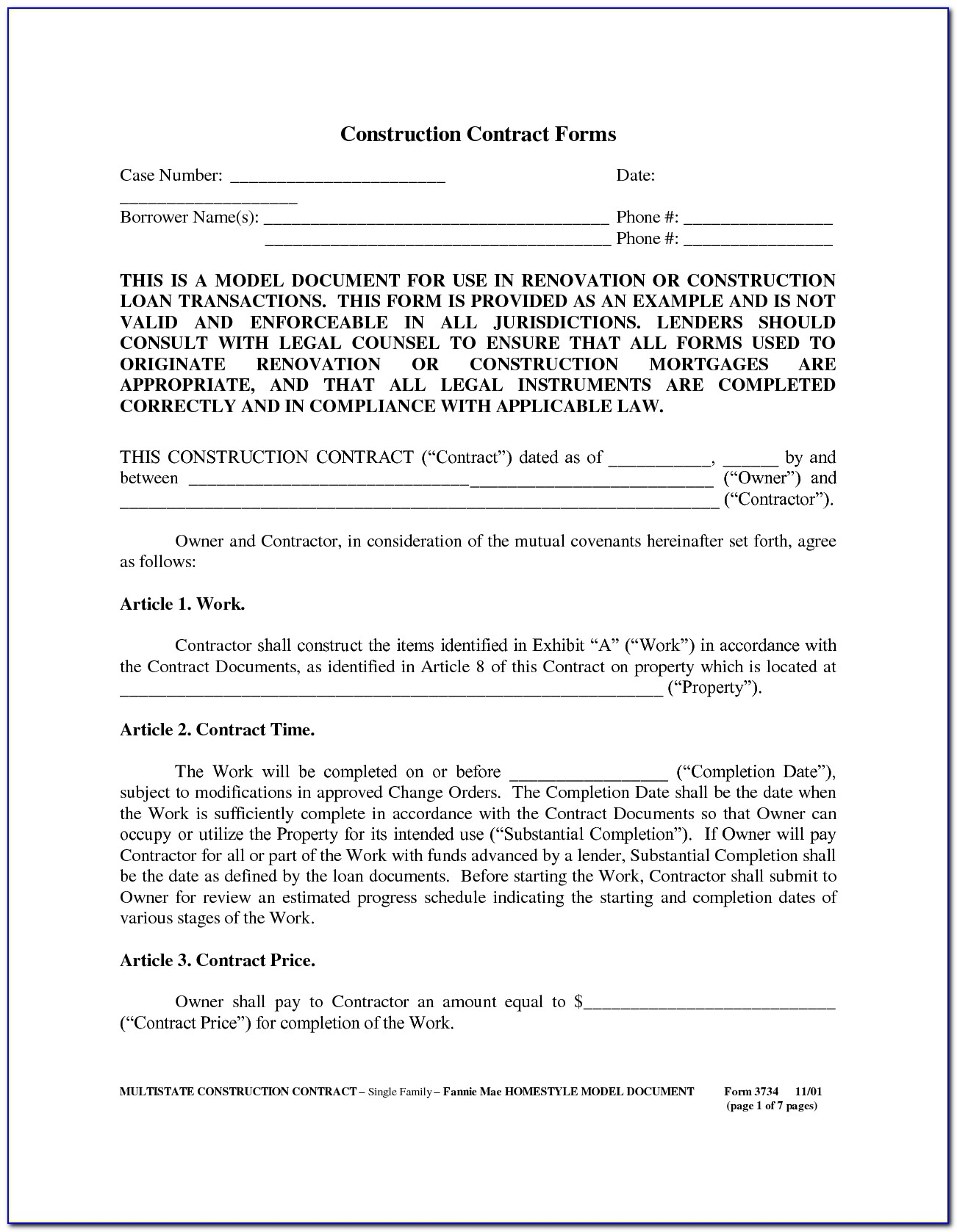 Builders Contract Template Free Uk
