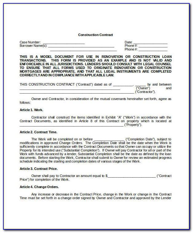 Builders Contract Template Nz