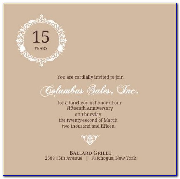 Business Anniversary Invitation Templates Free