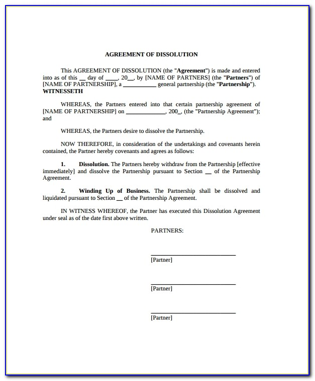 Business Partnership Dissolution Agreement Template Free