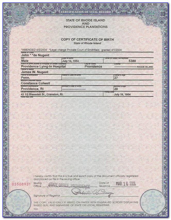 California Birth Certificate Printable