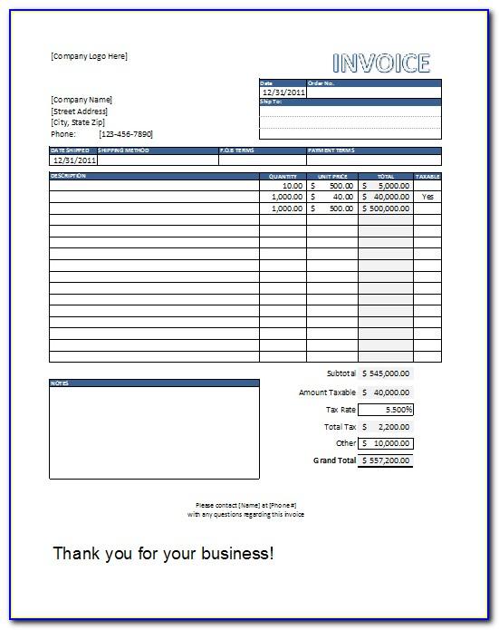 Carpentry Invoice Template Free