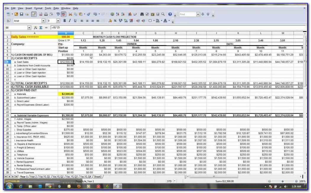 Cash Flow Forecasting Templates