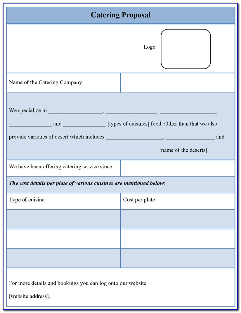 Catering Business Proposal Template Free