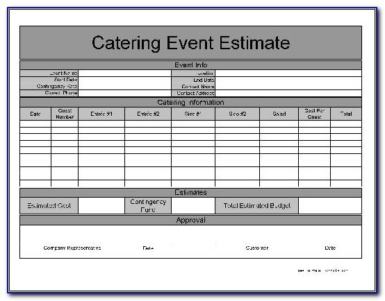 Catering Estimate Template