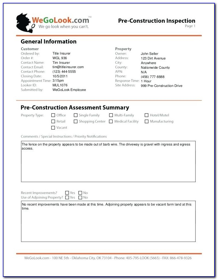 Cctv Camera Inspection Report Template