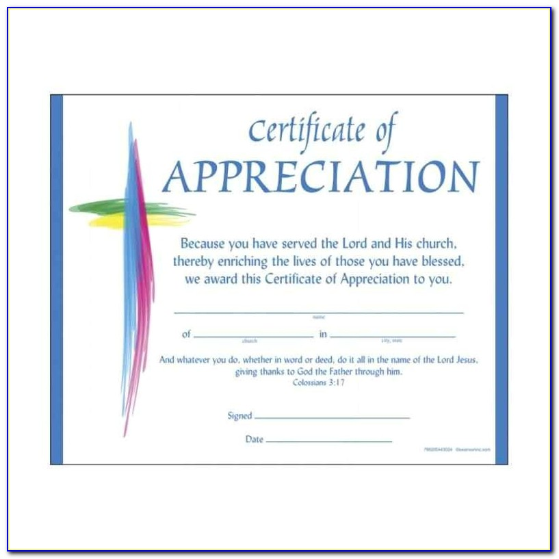 Christian Certificate Template Christian Certificate Of Appreciation Template Update234