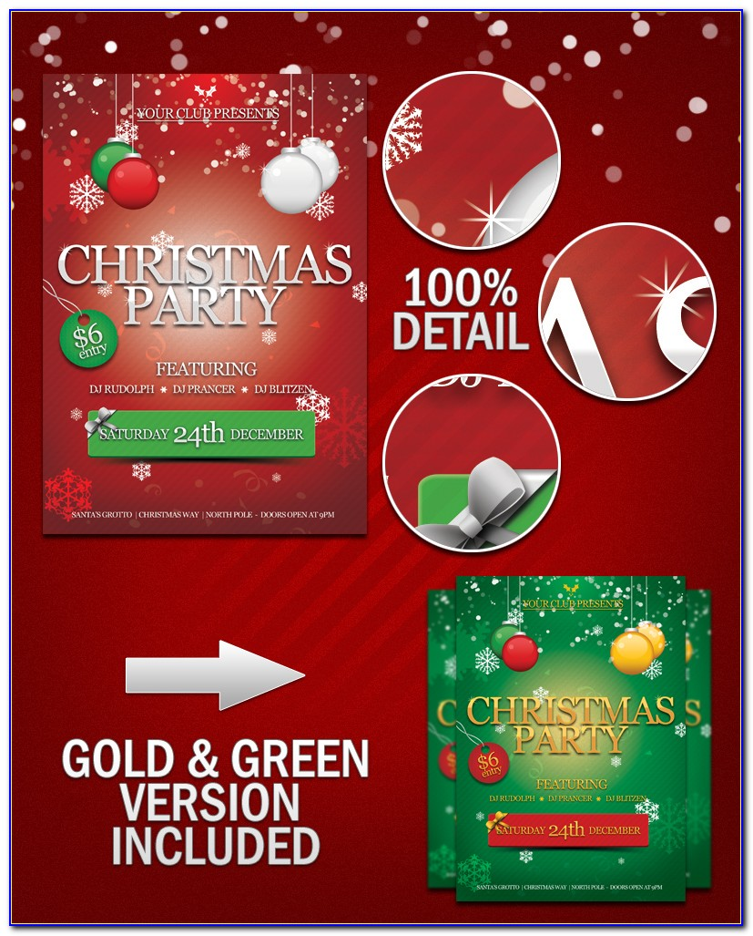Christmas Holiday Party Flyer Template Free Download