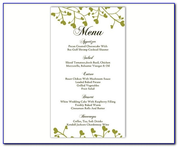 Wedding Menu Template Diy Menu Card Template Editable Text Word Inside Menu Template Free Word