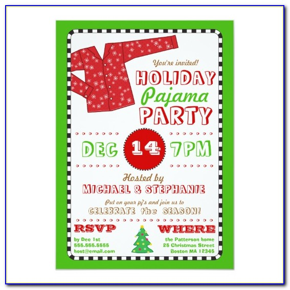 Christmas Pajama Party Invitations Template