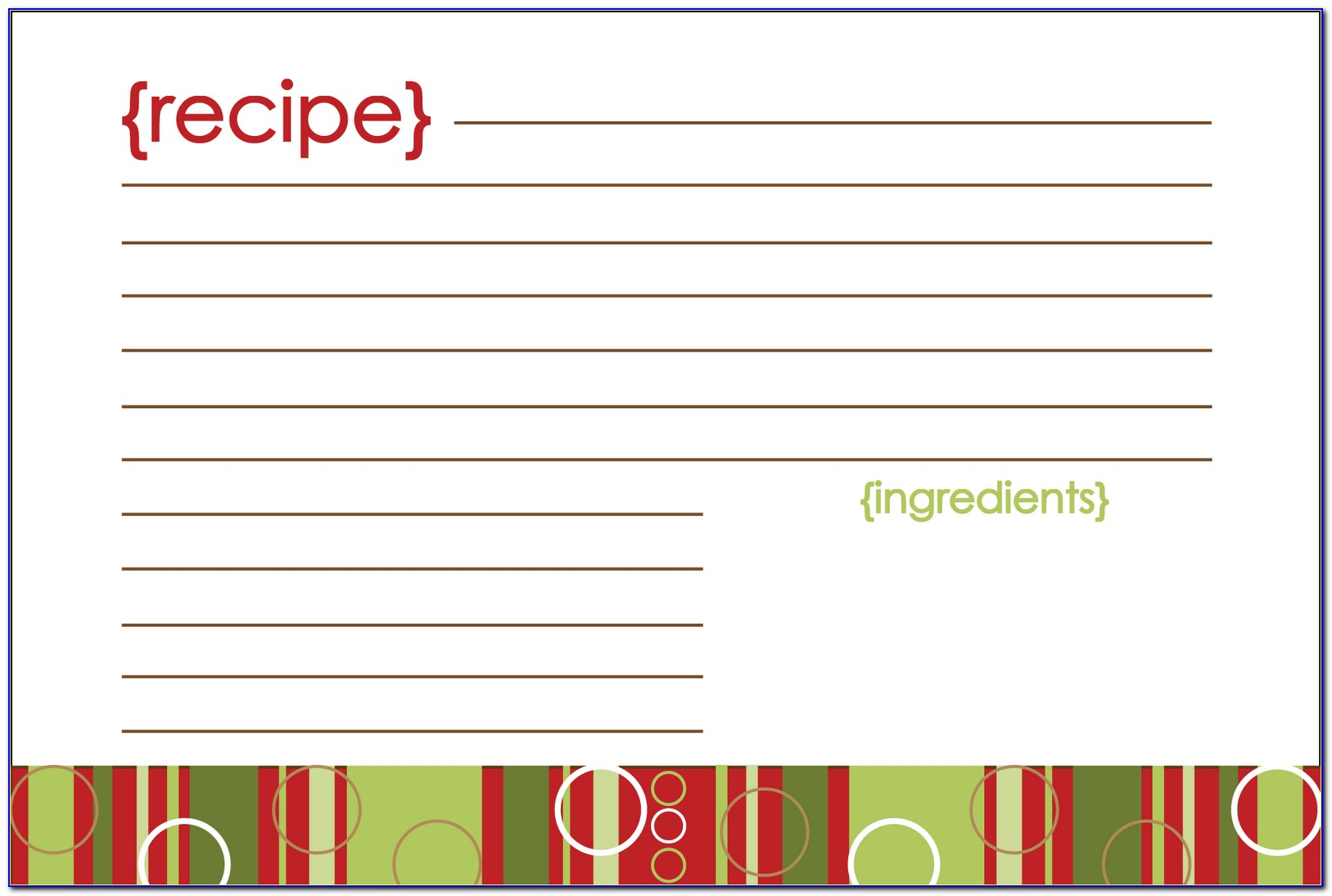 Christmas Recipe Card Template Pdf