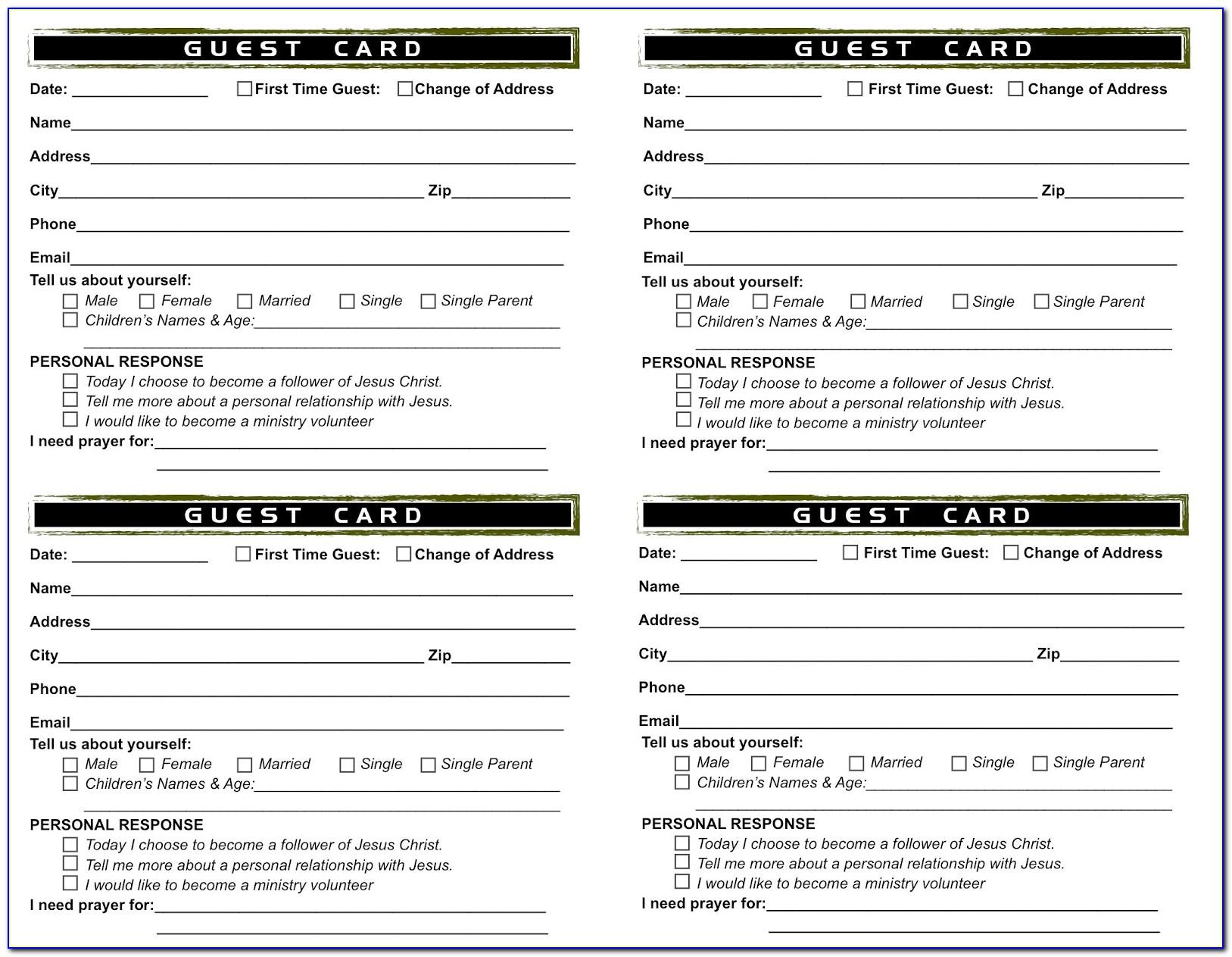Church Guest Card Template