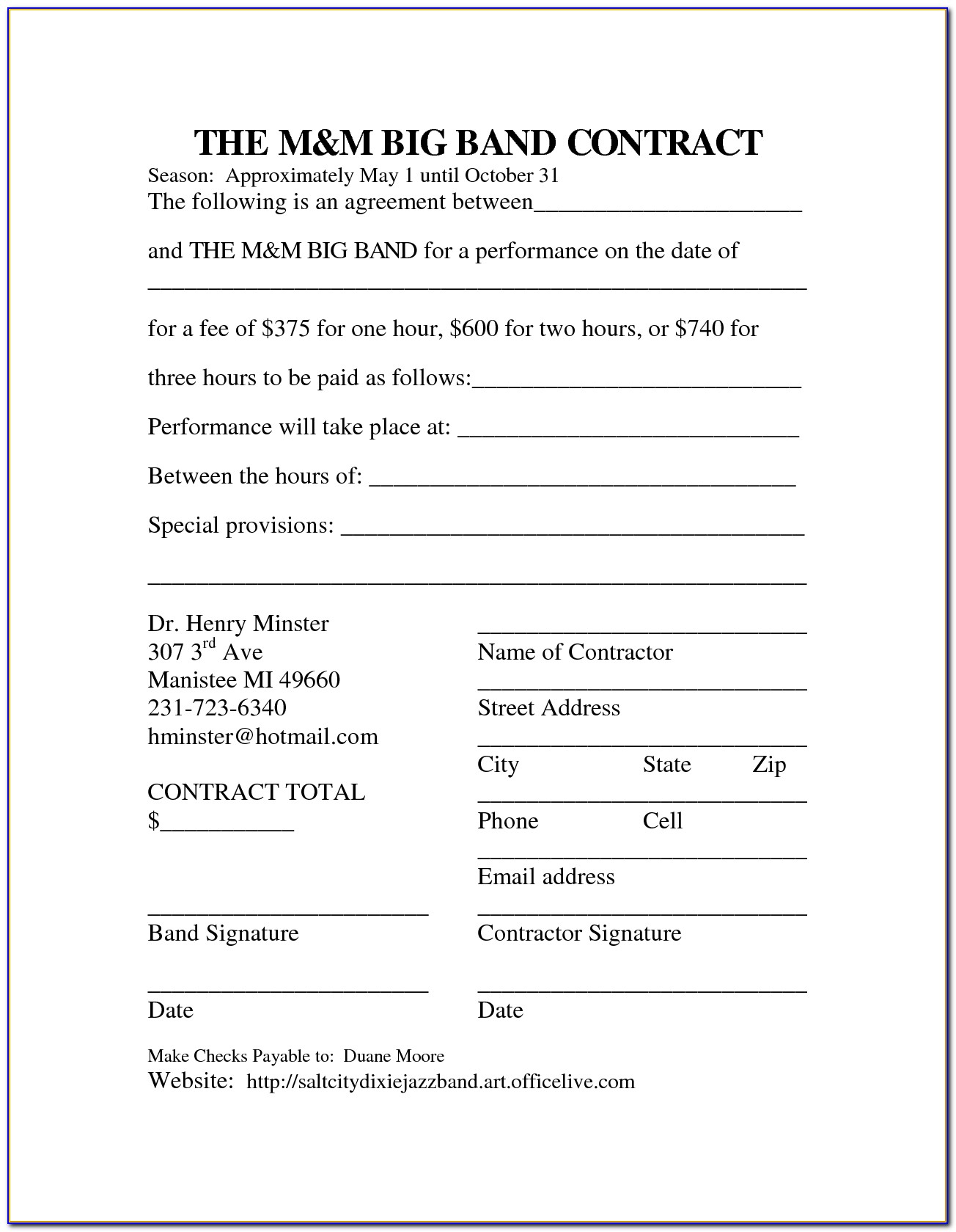 Church Musicians Contract Template