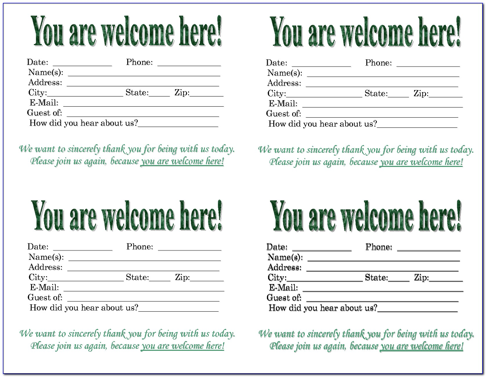 Church Visitor Card Template Doc