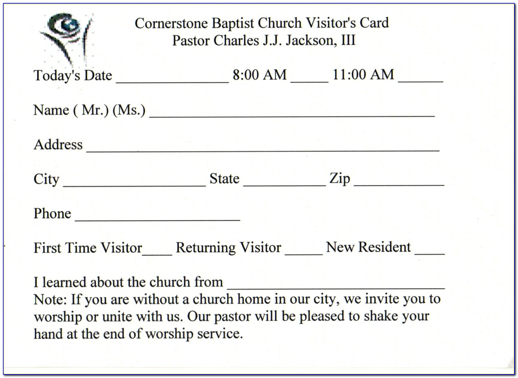 Church Visitor Card Template Downloads