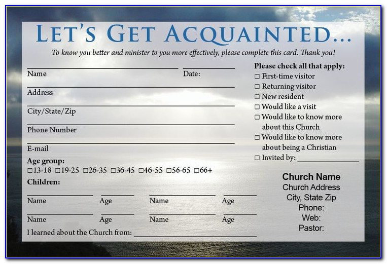 Church Visitor Card Template Free