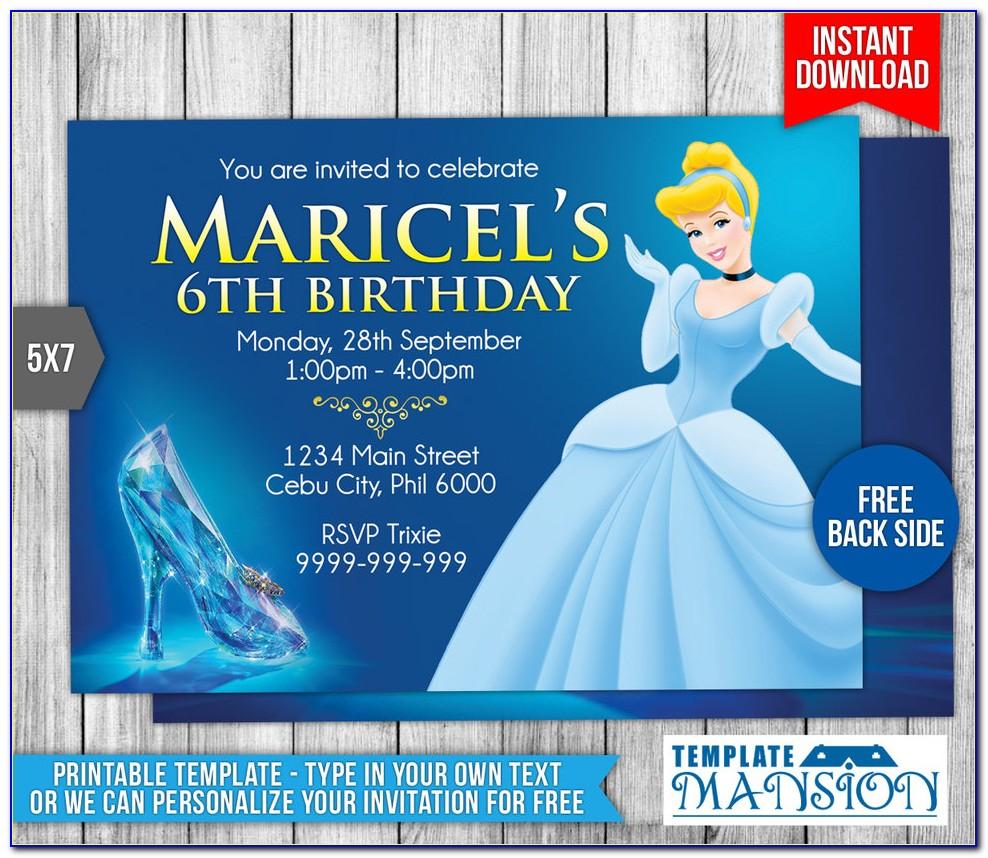 Cinderella Themed Birthday Invitation Template