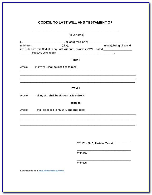 Codicil Forms Free