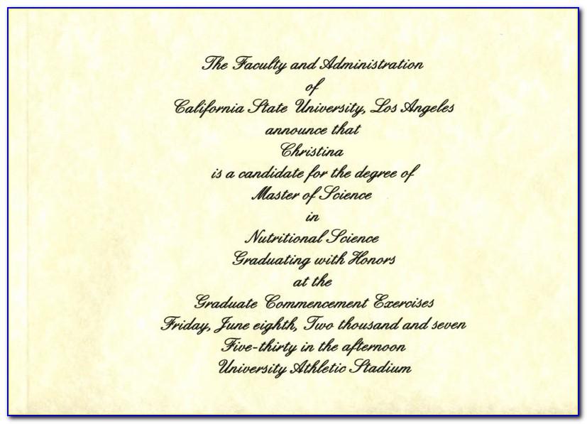 College Graduation Invitation Wording Samples