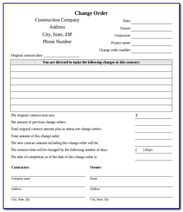 Construction Change Order Form Template Excel Free