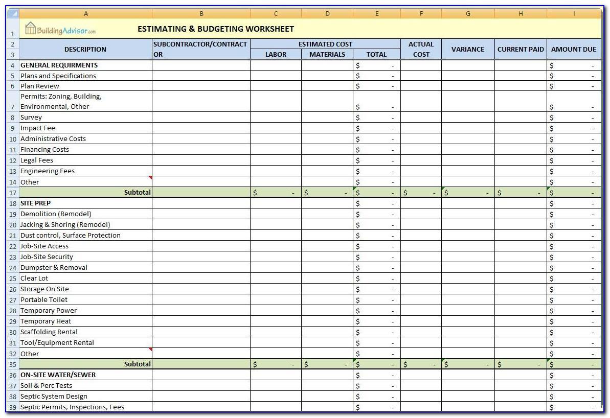 Construction Cost Estimating Templates Excel