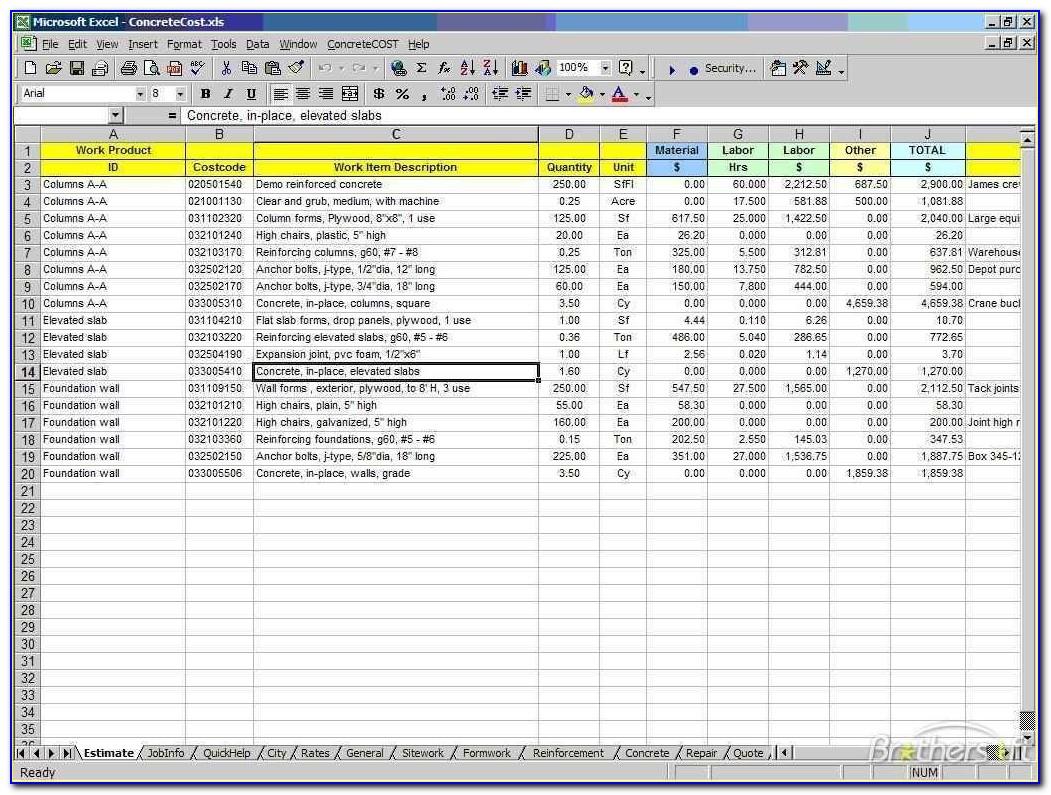 Construction Estimating Spreadsheet Template Xls