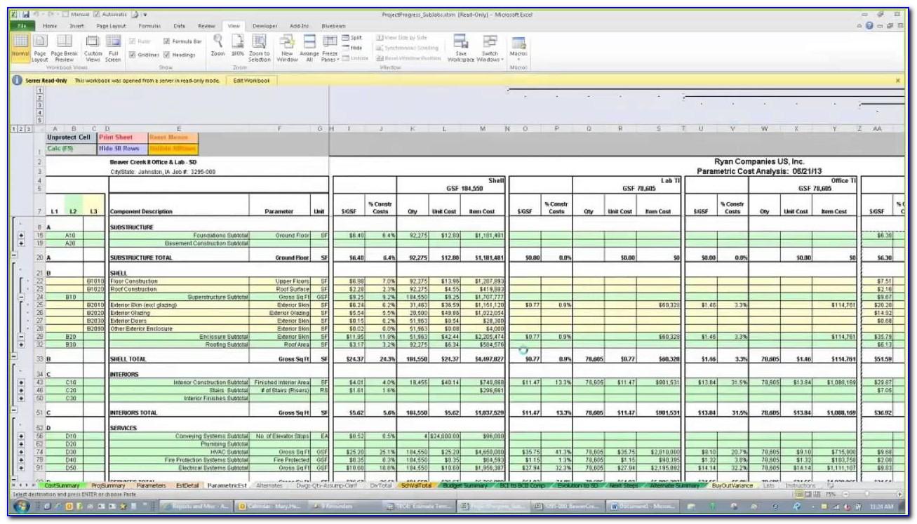 Construction Estimating Spreadsheet Template