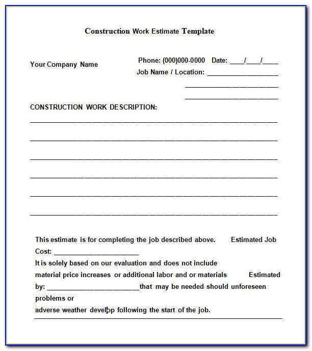 Construction Job Estimate Template Free