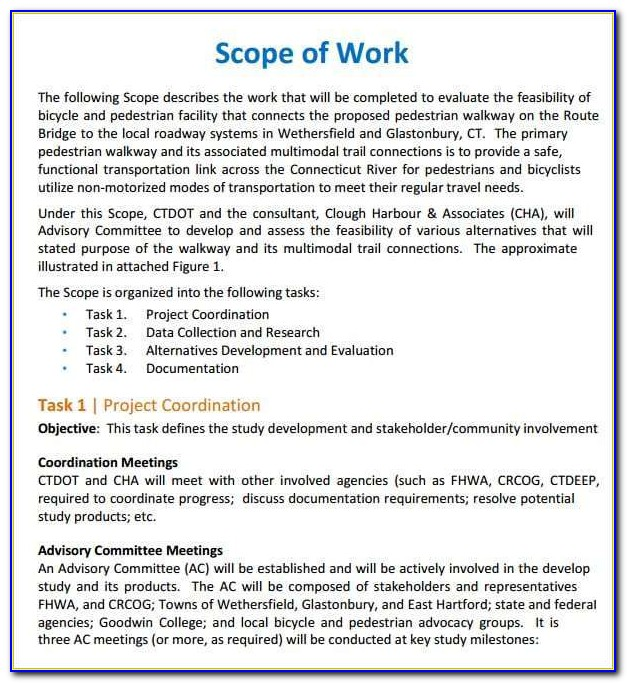 Construction Scope Of Work Template Word