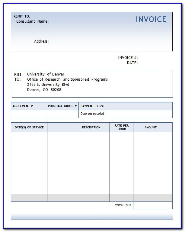 Consulting Invoice Template Uk