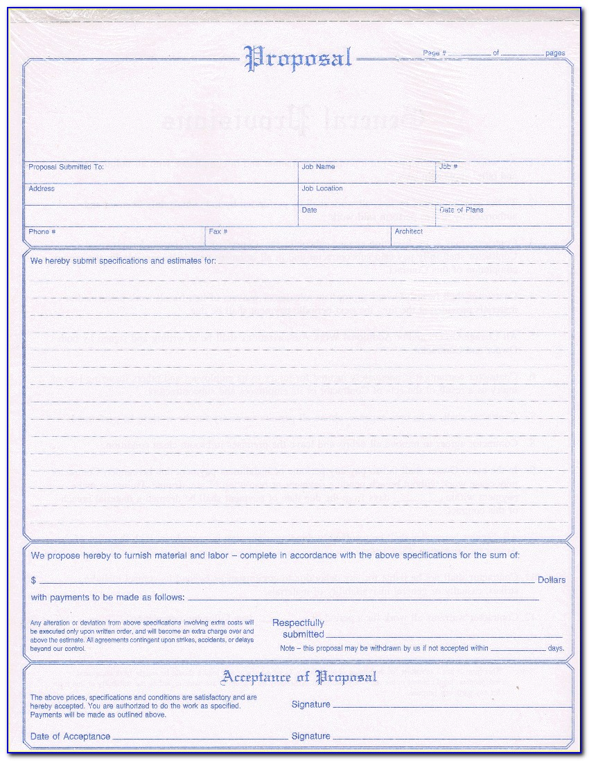 Contract Bid Forms Free