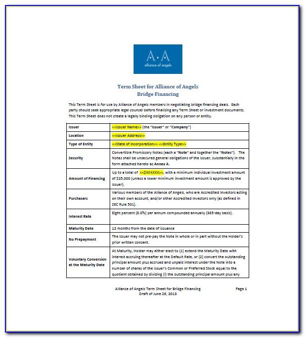 Convertible Bond Term Sheet Template