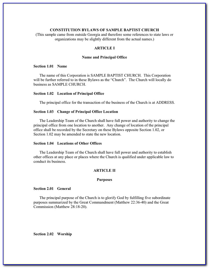 Corporate Bylaws Template New York