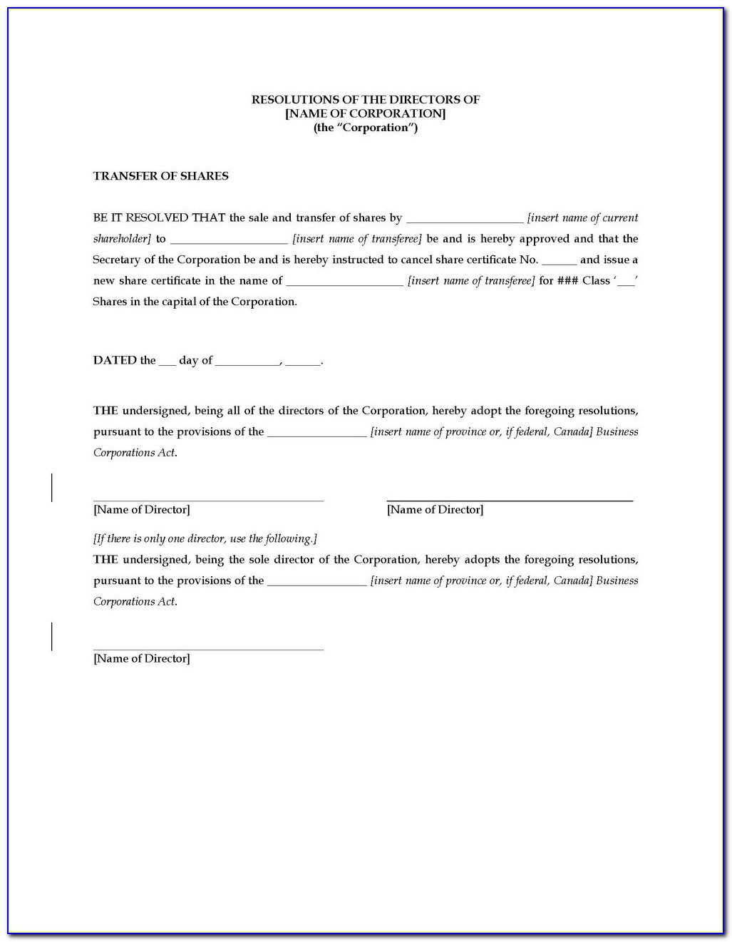 Corporate Resolution Identifying Authorized Signers Template