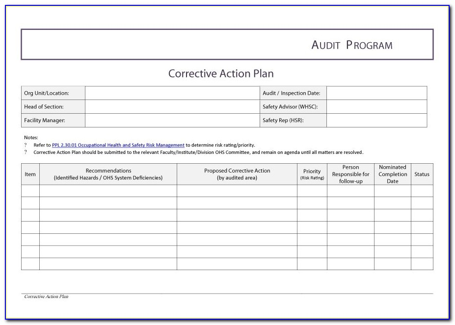 Corrective Action Plan Templates Free