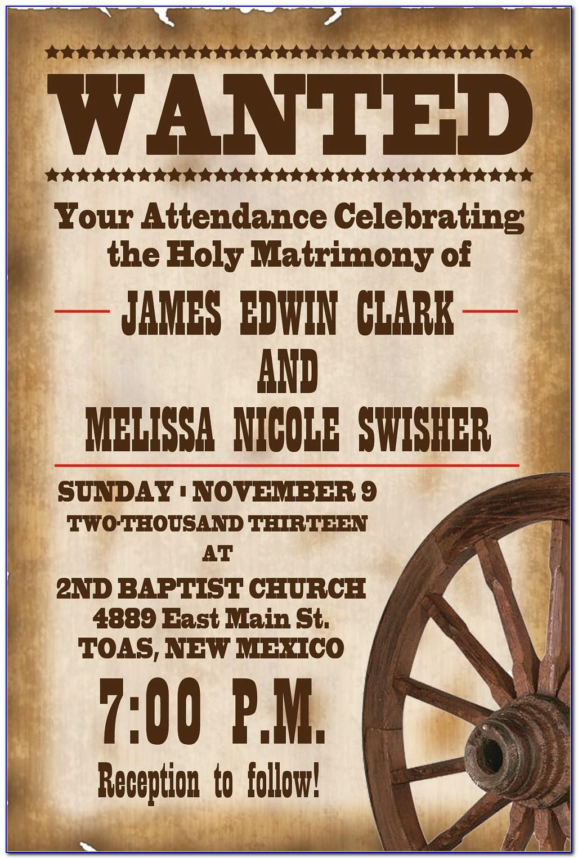 Country Western Wedding Invitation Templates