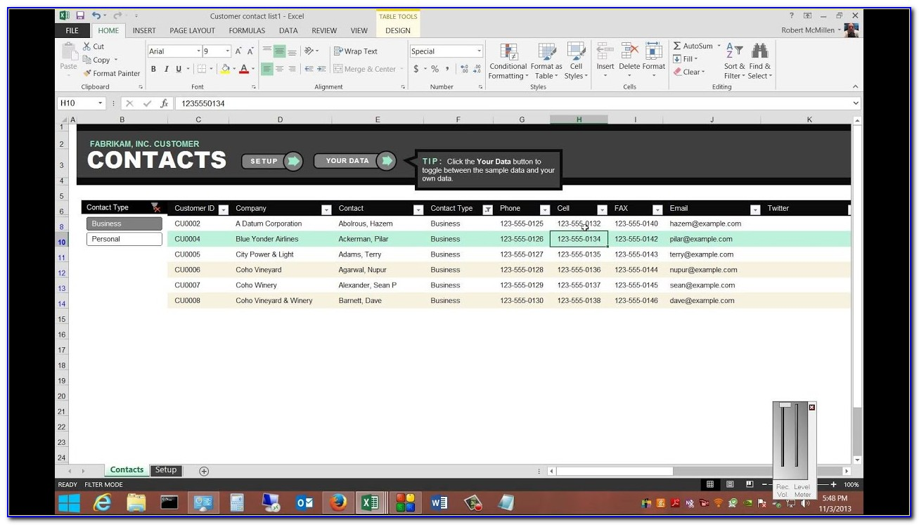 Customer Information Database Excel Template