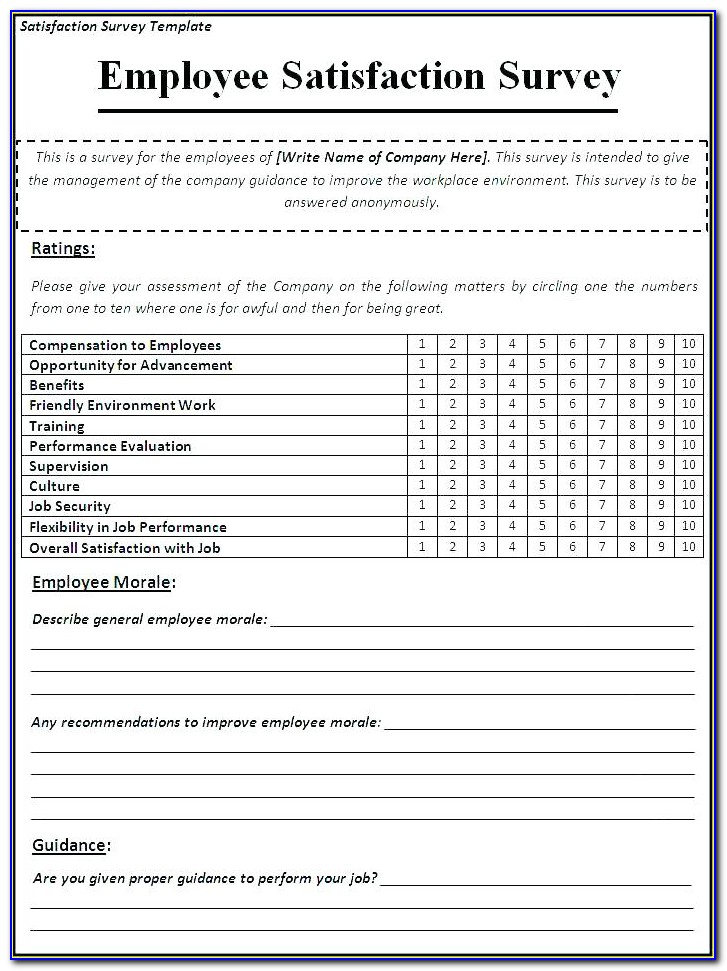 Customer Survey Questions Templates Free
