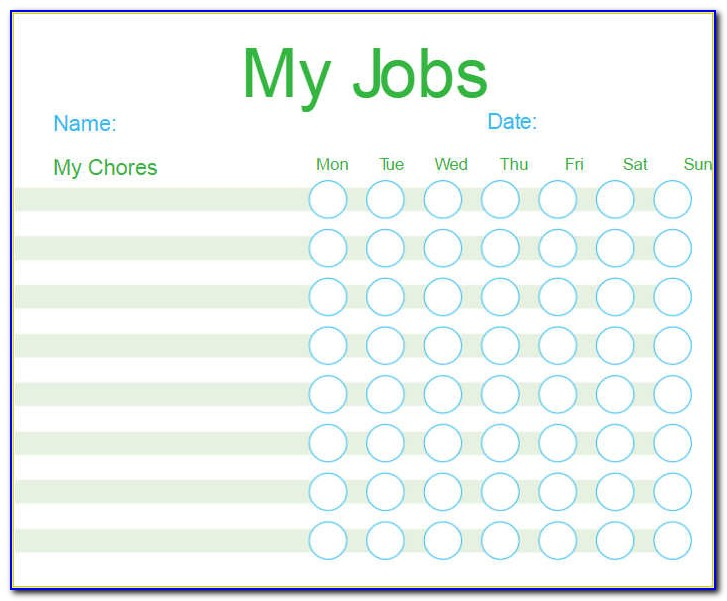 Customizable Chore Chart Template