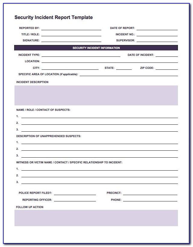 Cyber Security Incident Response Report Template